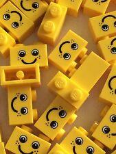 Lego New Bulk lot of 25 1x2 Yellow Smiley Face Bricks No.1 Blocks 1 x 2