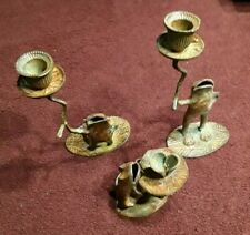 3 Unique Metal All Different Frog Candle Holders