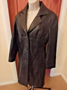 Wilsons Leather Trench Jacket Coat Womens M Long Black Quilted Zip in lining