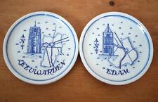 Vintage Pair Dutch Delft Porcelain Coasters Dish Plates Edam Leeuwarden Holland