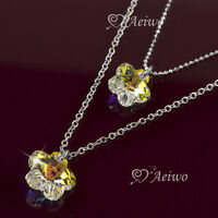 PENDANT DOUBLE NECKLACE 9K GF WHITE GOLD MADE WITH SWAROVSKI CRYSTAL FLOWER