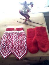 2 Pair Vintage Red Wool Mittens Adult Norwegian Childrens Red