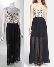 Betsey Johnson Black Laser Cut Faux Leather Removable Strap Maxi Dress Sz 12 NWT