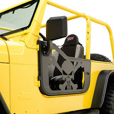 97-06 Jeep Wrangler TJ Skull Tubular Doors BLK Body Armor With Sideview Mirrors