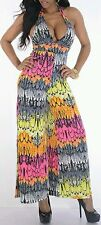 Womens Colorful Feather Print Halter Jumpsuit