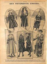 Longs Manteaux chaud Ceinture Fourrure Robe Chapeau Mode Paris Fashion WWI 1916