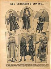 Longs Manteaux chaud Ceinture Fourrure Robe Chapeau Mode Paris Fashion WWI 1916