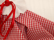 Red & White 3mm Gingham Check Silky Fine Cotton Fabric -145cm x per 1/2 metre