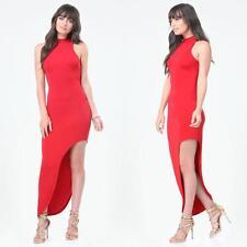 BEBE RED MOCK NECK ASYMMETRIC DRESS GOWN NEW NWT MEDIUM M