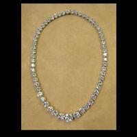 Heavy 20Ct Round Diamond Tennis Necklace 14K White Gold Over Silver Valentines