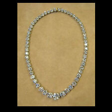Heavy 20 Ct Simulated Diamond Tennis Necklace 14K White Gold Over Solid Silver