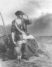 PRETTY YOUNG GIRL FISHERMAN WIFE & BABY Wait on Shore ~ 1848 Art Print Engraving