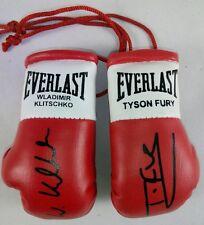 Tyson Fury vs Wladimir Klitschko Autografiado Mini Guantes De Boxeo