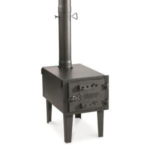 Steel Outdoor Wood Stove Cast Iron Door Portable Camping For Vented Tent Cooking