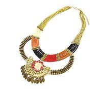 CC816 * Collier Multi-Rangs Perles et Pendentif Ethnique Mode Femme - Doré