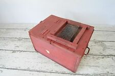 Vintage Red Wood Crate Chest Hand Made Primitive Folk Art Wooden Box Rustic Cage