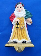 "mantle Christmas Stocking Holder resin 6"" old world Santa Claus gold cast iron"