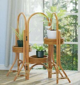 Handmade Rattan Tiered Planter Stand Indoor Decorative Home Decor Display