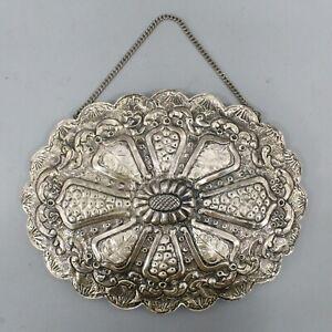 900 Silver Vintage Floral Repousse Marked SAIM Turkish Wedding Hanging Mirror