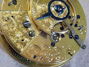 Nicely Jeweled fusee silver watch with gold balance and hands diamond endstone