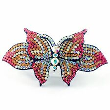 USA BARRETTE use Swarovski Crystal Hair Clip Hairpin Elegant Butterfly PINK B28