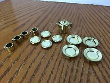 Vintage Barbie Gold Plates, Small Plates, Cups, 4 sets, Gold Coffee Pot.