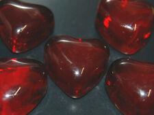 5 Mini Glass Shapes Red Heart Mosaic Tile Gems Craft Art Flat Back Fun Shapes