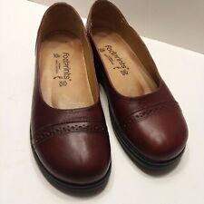 Birkenstock Footprints Chestnut Brown Leather Brogue Slip On Comfort Shoe EU38