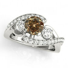 1.41 Ct Natural Brown Champagne Diamond Solitaire Wedding Ring Classy 14k Gold