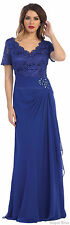 MOTHER of THE BRIDE GROOM MODEST EVENING GOWN FORMAL CHURCH CLASSY LONG DRESS