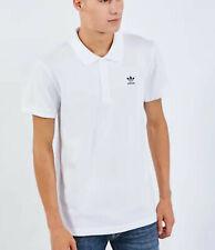 Camisa Polo para hombre Adidas Originals Blanco Negro Trébol Camiseta Top Talla Xl Algodón Raro