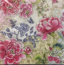 2 single paper napkins for Decoupage Crafts or Collection Flowers Shabby Roses