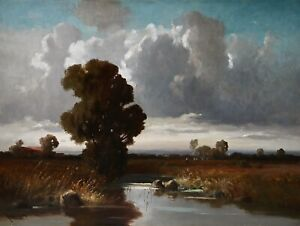 J. Mühlbeck *1878 Ölgemälde Ölbild alt antik Impressionismus Romantik Landschaft