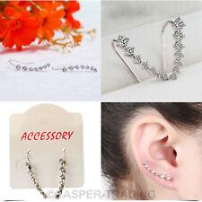 One Row Rhinestone Crystal Star Earrings Piercing Ear Stud Clip Cuff Ladies Girl 2 Pairs Silver