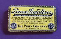~Vintage Advertising Tin Drug Store PINEX LAXATIVES Fort Wayne Indiana