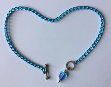 """TEAL BLUE aluminum chain NICKEL FREE 10"""" or custom anklet with heart pendant"""