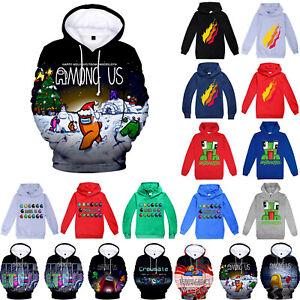 UNSPEAKABLE Among Us Kids Hoodie Boys Girls Hooded Pullover Sweatshirt Tops Coat
