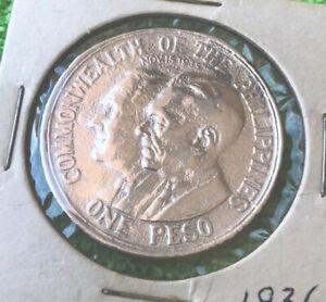 1936 PHILIPPINES SILVER COMMEMORATIVE PESO