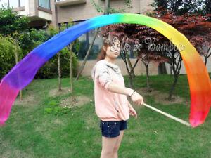 "1pc 2.5m*0.3m(98""x12"") Rainbow light silk worship streamer, fiberglass stick"