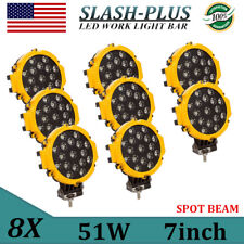 """8X 7""""INCH 51W SPOT LED WORK LIGHT DRIVING OFFROAD TRUCK FORD SUV ROUND YELLOW"""