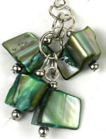 Mother of Pearl Earrings - Silver Green Colored Handmade Cluster Drop Dangle