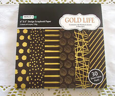 """Pack of 30 sheets of MOLLYS 6 inch x 6 inch Scrapbook paper """"GOLD LIFE""""#2"""