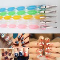 5PCS New 2Way Marbleizing Hot Dotting Pen Nail Art Tips Manicure Paint Tools