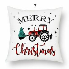 1 Pair Christmas Pillow Case Furry Cover Throw Letters Square Sofa Cushion Decor