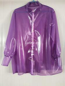 Hot sale 100% Rubber latex shirt Purple Long sleeve button jacket 0.4mm S-XXL