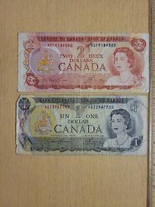 🇨🇦 Canada 1  2 dollars 1973 1974 P-85 P-86 Banknote   Lawson - Bouey 072721-18
