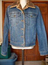 MARVIN RICHARDS, BLUE DENIM JACKET / COAT WITH FAUX FUR LINING AND TRIM, SIZE M