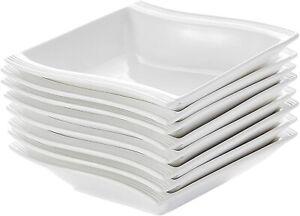 "MALACASA FLORA 8x 5.5"" White Square Ceramic Dinner Set Kitchen Soup Bowl Plates"