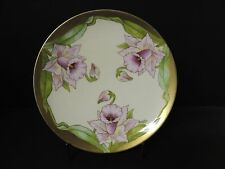 PT Bavaria Tirschenreuth Cabinet Plate Hand Painted Irises Signed by Artist Gold