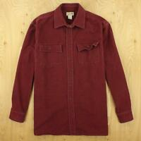 LL BEAN chamois flannel camp shirt LARGE red faded & distressed